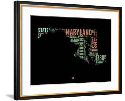 Maryland Word Cloud 1-NaxArt-Framed Art Print