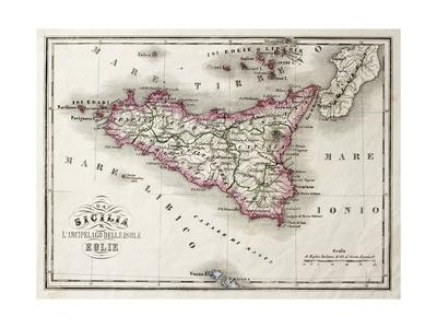 An Old Map Of Sicily And Little Islands Around It