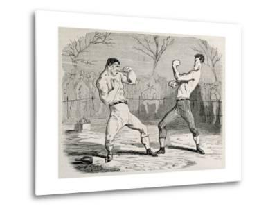 Antique Humorous Illustration Of A Boxing Match Beginning