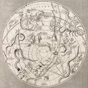 Antique Illustration Of Celestial Planisphere (Southern Hemisphere) With Constellations by marzolino