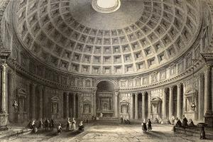 Antique Illustration Of Pantheon In Rome, Italy by marzolino