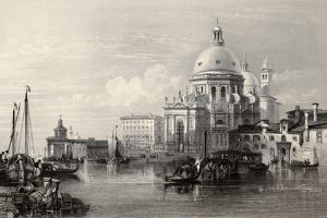 Antique Illustration Of Santa Maria Della Salute Basilica, Venice, Italy by marzolino