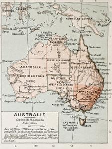 Australia Old Map. By Paul Vidal De Lablache, Atlas Classique, Librerie Colin, Paris, 1894 by marzolino