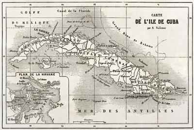 Cuba Old Map With Havana Insert Plan