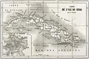 Cuba Old Map With Havana Insert Plan by marzolino