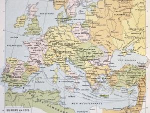 Europe In 1270 Old Map by marzolino