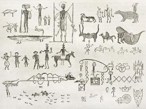 Hieroglyphics Found In A Cave Near Fossil Creek, Arizona by marzolino