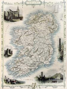 Ireland Old Map. Created By John Tallis, Published On Illustrated Atlas, London 1851 by marzolino