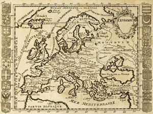 Map Of Europe Framed By National Crests. May Be Dated To The Beginning Of Xviii Sec by marzolino
