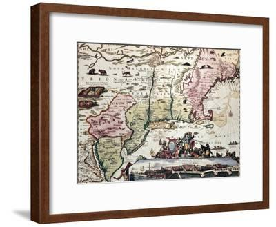 New England Old Map With New Amsterdam Insert View