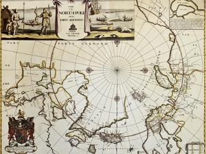 North Pole And Adjoining Lands Old Map. Created By Moses Pitt, Published In Oxford, 1680 by marzolino