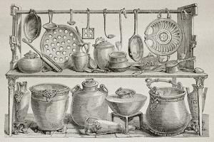Old Illustration Of Bronze Pottery And Kitchen Utensils Found In Pompeii by marzolino
