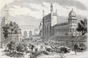 Old Illustration Of Main Street In Lucknow, India by marzolino