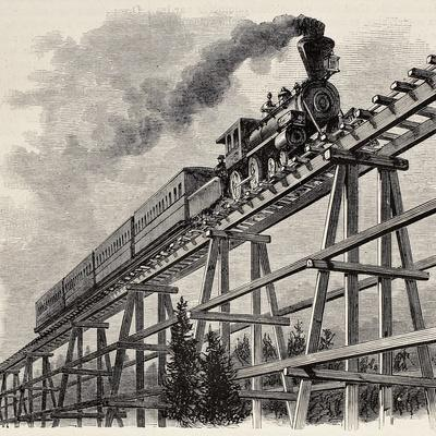 Old Illustration Of Train Crossing Wooden Trestle Bridge Along Union Pacific Railroad