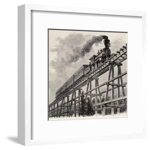 Old Illustration Of Train Crossing Wooden Trestle Bridge Along Union Pacific Railroad by marzolino