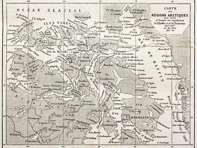 Old Map Of Arctic Region Of Sir John Franklin Northwest Passage Exploration
