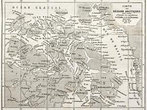 Old Map Of Arctic Region Of Sir John Franklin Northwest Passage Exploration by marzolino