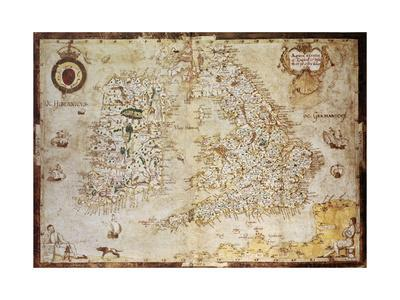 Old Map Of British Islands. Created By Laurence Nowell, Published In England, 1564
