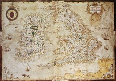 Old Map Of British Islands. Created By Laurence Nowell, Published In England, 1564 by marzolino