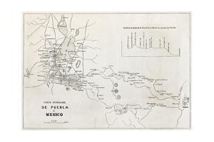 Old Map Of The Road From Puebla To Mexico City by marzolino