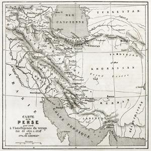 Persia Old Map. Created By Vuillemin, Published On Le Tour Du Monde, Paris, 1860 by marzolino