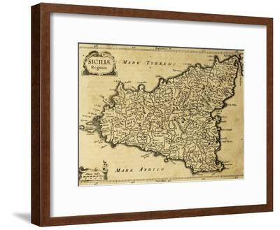 Sicily Old Map, May Be Approximately Dated To The Xviii Sec