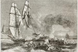 Slaver Vessel Escaping From Military Ship Getting Rid Of Slaves by marzolino