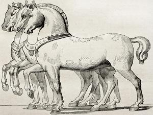 St. Mark Basilica Horses Old Illustration by marzolino