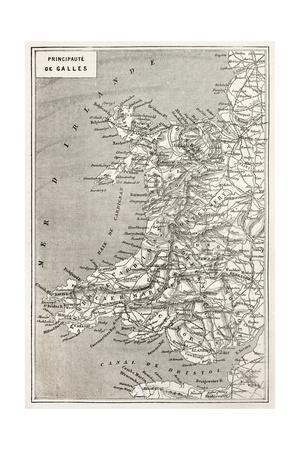 Wales Old Map. Created By Erhard And Duguay-Trouin, Published On Le Tour Du Monde, Paris, 1867