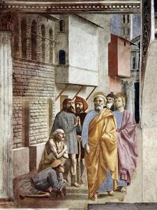 Saint Peter Following Saint John as He Heals The Sick with His Shadow by Masaccio