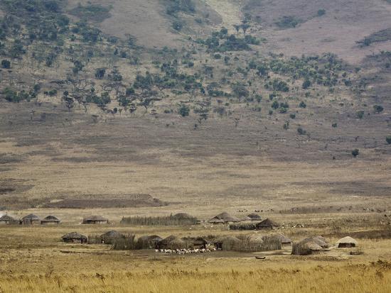 Masai Village Near Ngorongoro Crater, Tanzania-Adam Jones-Photographic Print
