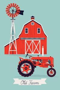 Beautiful Detailed Vector Poster or Web Banner Template on Old Farm with Classic Red Wooden Barn, W by Mascha Tace