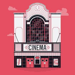 Beautiful Vector Detailed Fully Decorated Classic Motion Picture Movie Film Theater Building Facade by Mascha Tace