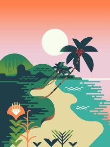 Beautiful Vector Flat Design Illustration on Tropical Sand Beach Landscape with Palms, Mountains An by Mascha Tace