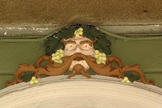 Mask of Bacchus, Painted Stucco Architectural Decoration, Vercelli, Piedmont, Italy--Photographic Print