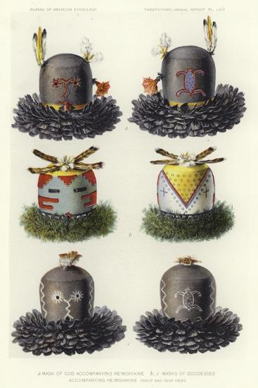Mask of God Accompanying He'Mishikwe and Masks of Goddesses Accompanying He'Mishikwe--Giclee Print