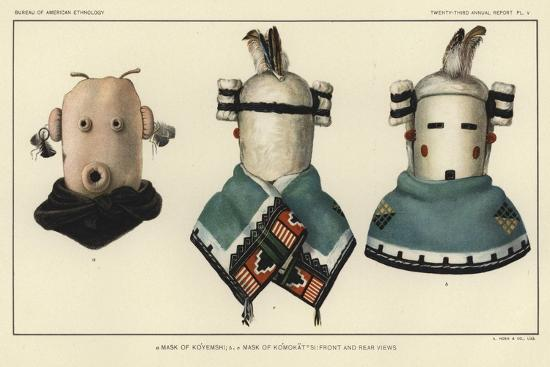 Mask of Koyemshi, Mask of Komokattsi: Front and Rear Views--Giclee Print