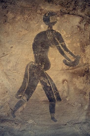Masked Woman, Cave Painting, in Style of Man with Round Head, Bubalus Period--Giclee Print