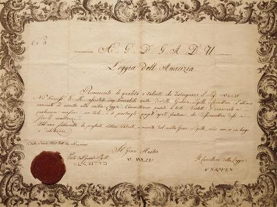 Masonic Patent Issued in Venice by the Lodge of Friendship, Italy--Giclee Print