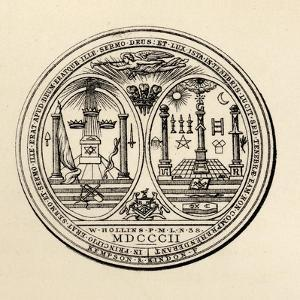 Masonic Seal, 1802, from 'The History of Freemasonry, Volume III', Published by Thomas C. Jack,…