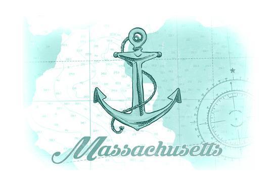Massachusetts - Anchor - Teal - Coastal Icon-Lantern Press-Art Print