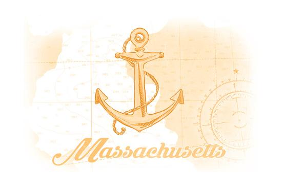 Massachusetts - Anchor - Yellow - Coastal Icon-Lantern Press-Art Print