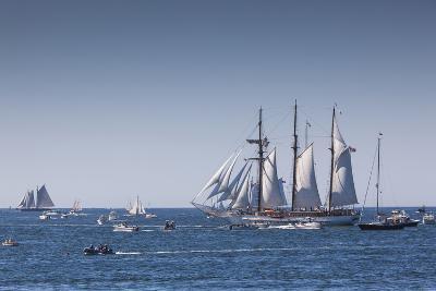 Massachusetts, Cape Ann, Gloucester, Annual Gloucester Schooner Festival, Schooner Parade of Sail-Walter Bibikow-Photographic Print
