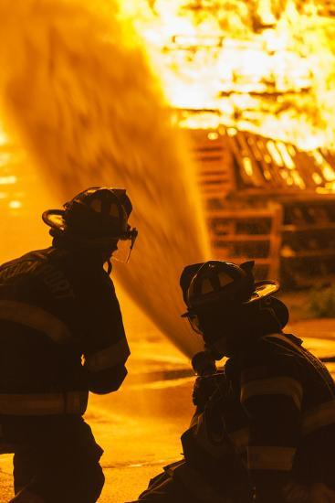 Massachusetts, Cape Ann, Rockport, Fourth of July Bonfire, Firemen-Walter Bibikow-Photographic Print