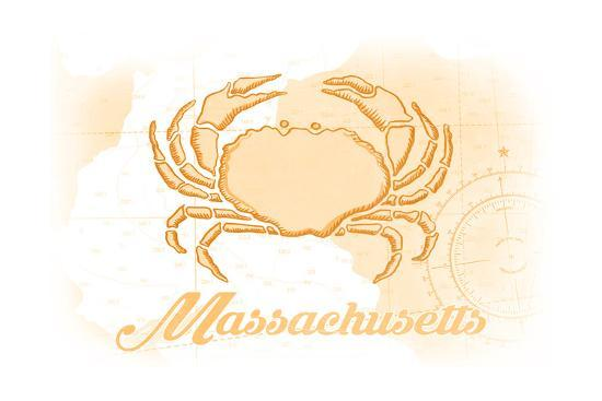 Massachusetts - Crab - Yellow - Coastal Icon-Lantern Press-Art Print