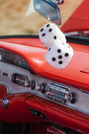 Massachusetts, Gloucester, Antique Car Show, Fuzzy Dice-Walter Bibikow-Photographic Print