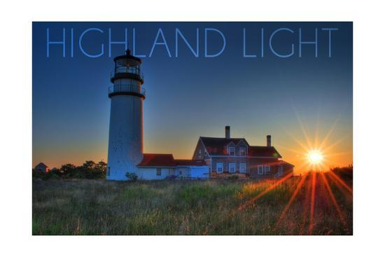 Massachusetts - Highland Light at Sunset-Lantern Press-Art Print