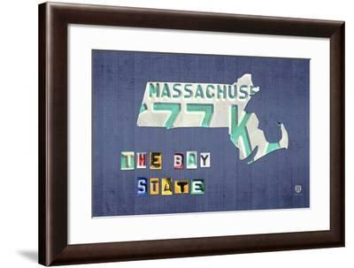 Massachusetts License Plate Map-Design Turnpike-Framed Giclee Print