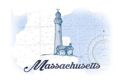 Massachusetts - Lighthouse - Blue - Coastal Icon-Lantern Press-Art Print