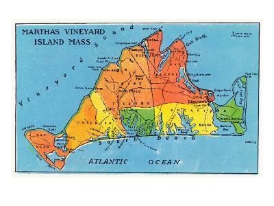Massachusetts, Map of Entire Martha's Vineyard Island-Lantern Press-Art Print